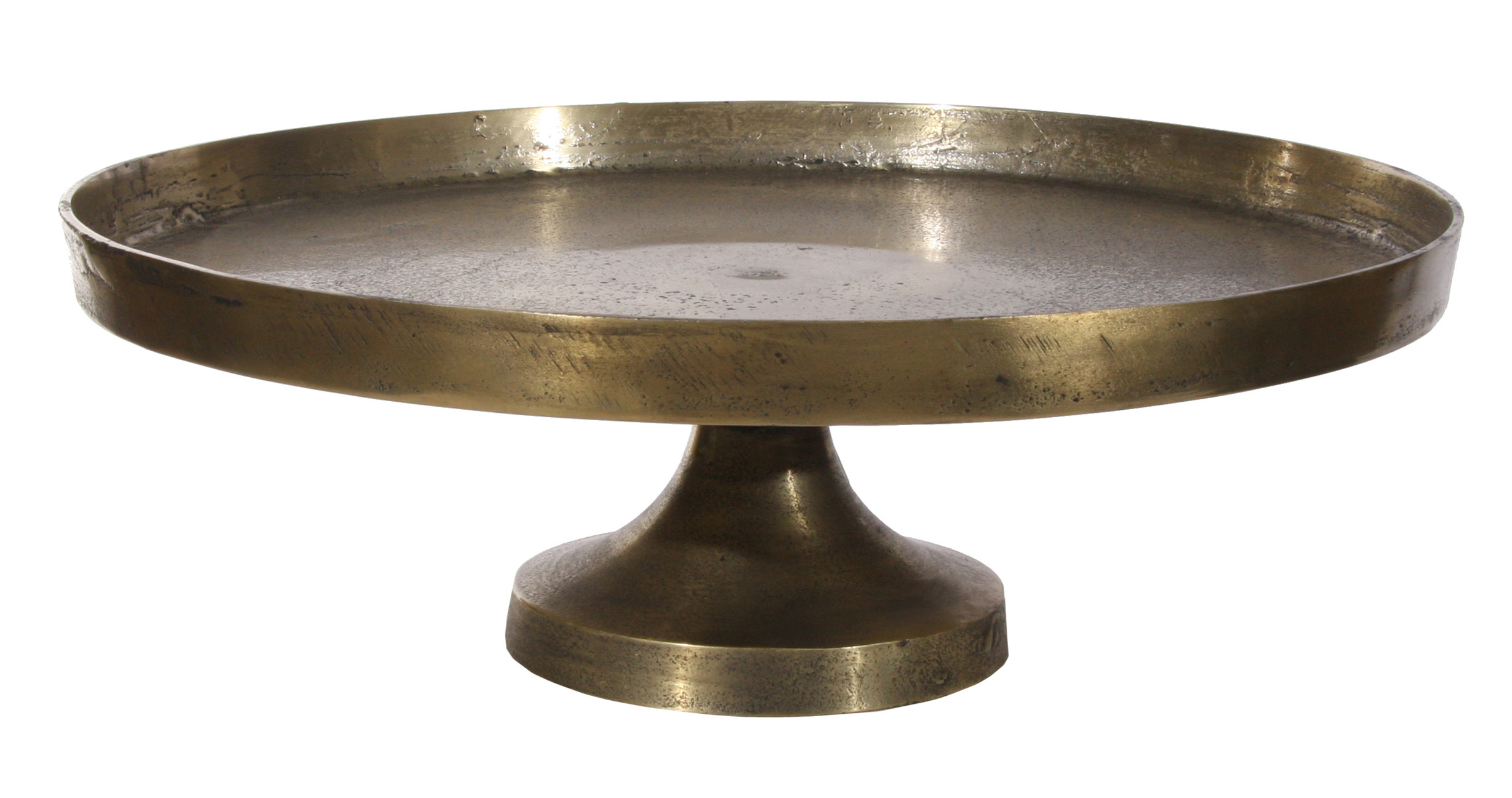 Metal plate on base antique gold 50cm