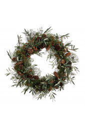 Wreath mixed cones and olive 80cm