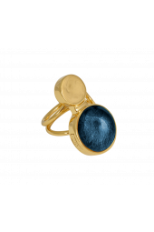 Moon Ring - Gold Sparkle Blue
