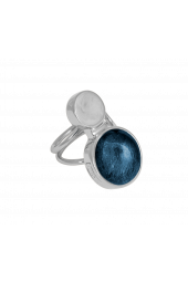 Moon Ring - Silver Sparkle Blue