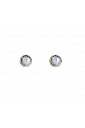 Moon Studs - Gold Sparkle Silver