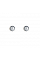 Moon Studs - Silver Sparkle Silver