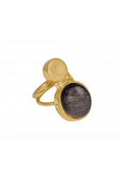 Moon Ring - Gold Sparkle Grey