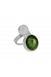 Moon Ring - Silver Sparkle Green