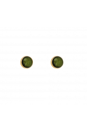 Moon Studs - Gold Sparkle Green