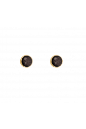 Moon Studs - Gold Sparkle Grey
