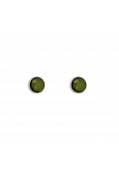 Moon Studs - Silver Sparkle Green